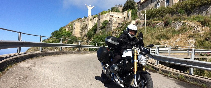one of our participants riding an R1200R near Maratea